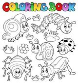 Coloring book cute bugs 1 — Stock Vector