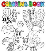 Coloring book cute bugs 2 — Stock Vector