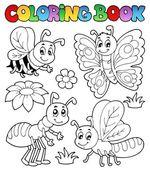 Coloring book cute bugs 2 — Cтоковый вектор