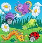 Meadow with various bugs theme 1 — Vector de stock