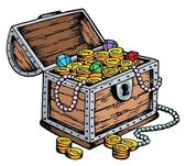 Treasure chest drawing — Stock Vector