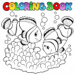 Coloring book two cute clown fishes — Stock Vector