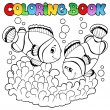 Stock Vector: Coloring book two cute clown fishes
