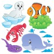 Sea fishes and animals collection 5 — Stock Vector
