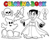 Coloring book Halloween topic 5 — Stock Vector