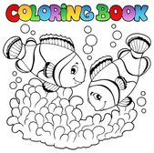 Colorear libro dos lindos peces payaso — Vector de stock