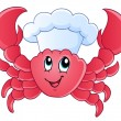 Stock Vector: Cartoon crab chef