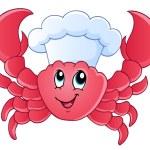 Cocinero de dibujos animados cangrejo — Vector de stock