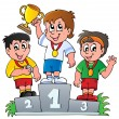 Stock Vector: Cartoon winners podium
