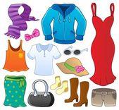 Clothes theme collection 1 — Stock Vector