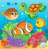Image with undersea theme 6 — Stock Vector