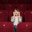 Young woman afraid of the movie — Stock Photo