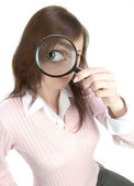 Young Woman with Magnifying Glass — Stock Photo