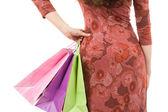 Mladá žena silueta s nákupní tašky — Stock fotografie