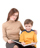 Young boy with teacher — Foto Stock