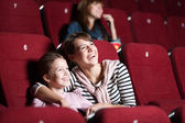 Loughing mother and daughter at the cinema — 图库照片