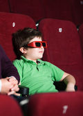 A boy in 3D movie theater — Stock Photo
