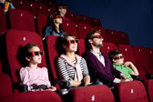 Parents with children at the cinema — Foto Stock