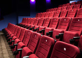Rows of cinema seats — Stock Photo