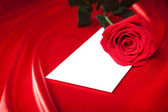 Letter and red rose over satin background — Stock Photo