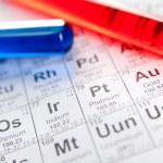 Постер, плакат: Two test tubes on the periodic table