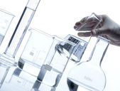 Group of empty glass flasks — Stock Photo