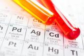 Two test tubes closeup on the periodic table — Stock Photo