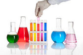 Set of chemical flasks and test tubes — Stock Photo