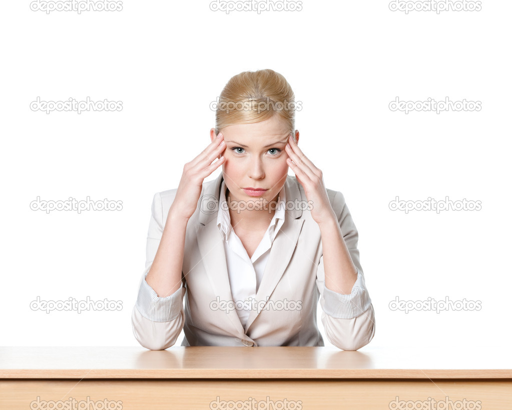 Young business woman sitting at a table, isolated — Stock Photo #10960173