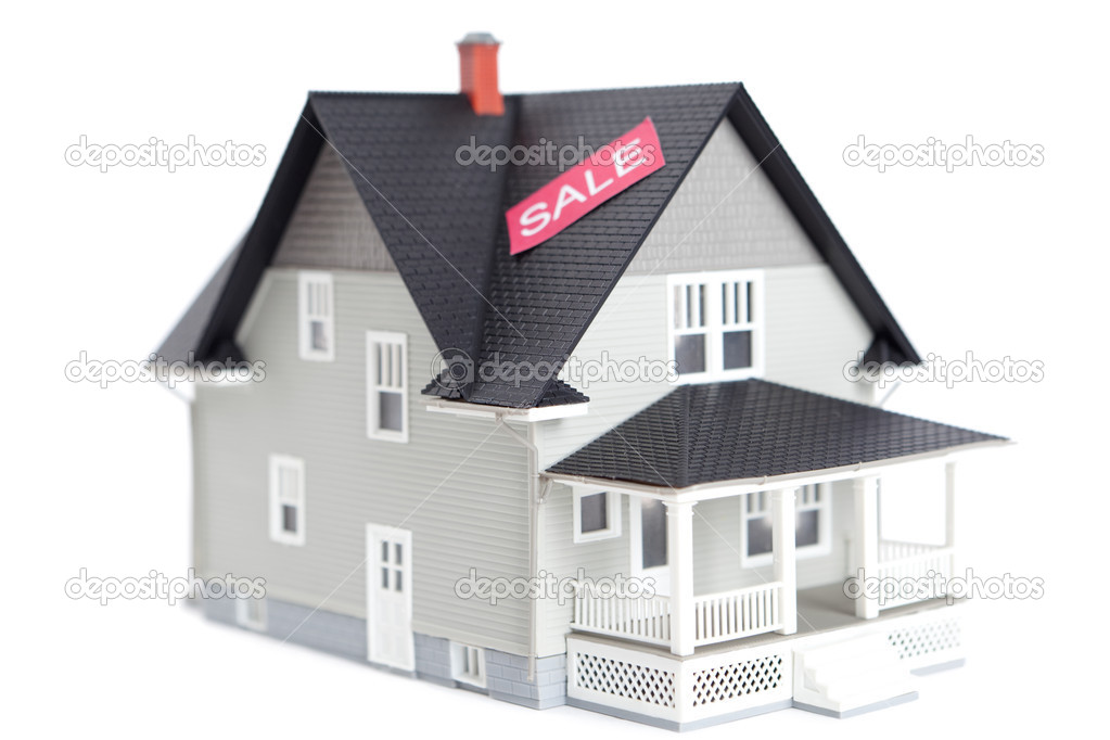 Home Architectural Model With Sale Sign Isolated Stock