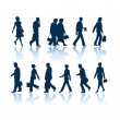 Stock Vector: Walking silhouettes