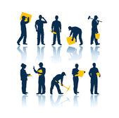 Silhouettes de travailleurs — Vecteur