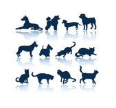 Pets silhouettes — Stock Vector
