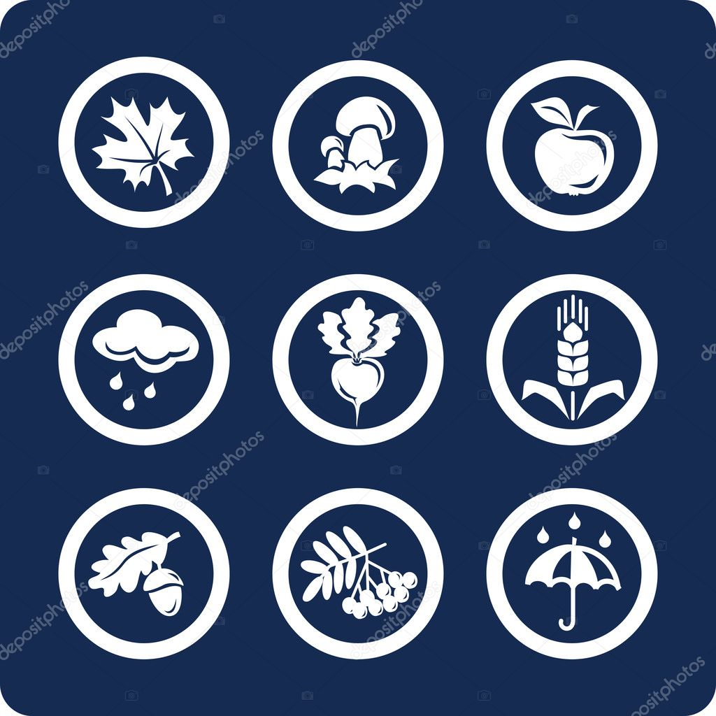 Seasons: Autumn (9 icons) — Stock Vector #10960812