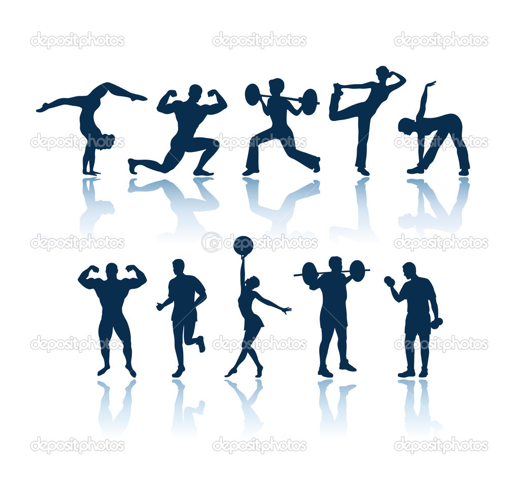 Fitness silhouettes stock illustration