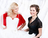 Hesitating about the wedding gown — Stock Photo