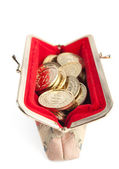 Silver and gold coins are in hot red purse, isolated on white background — 图库照片