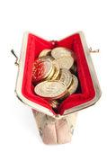 白银和黄金的硬币是在热的红色钱包,孤立在白色背景上 — 图库照片