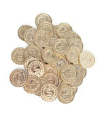 Scattered gold coins, isolated on white background — Stock Photo
