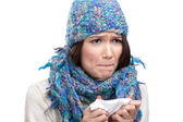 A cold young woman holding wipe — Stock Photo