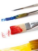 Farklı renkli mürekkep ile Boya fırçaları — Stok fotoğraf