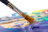 Painting something with paintbrush — Stock Photo