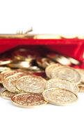 Scattered silver and gold coins are in red purse, isolated on white — Stock Photo