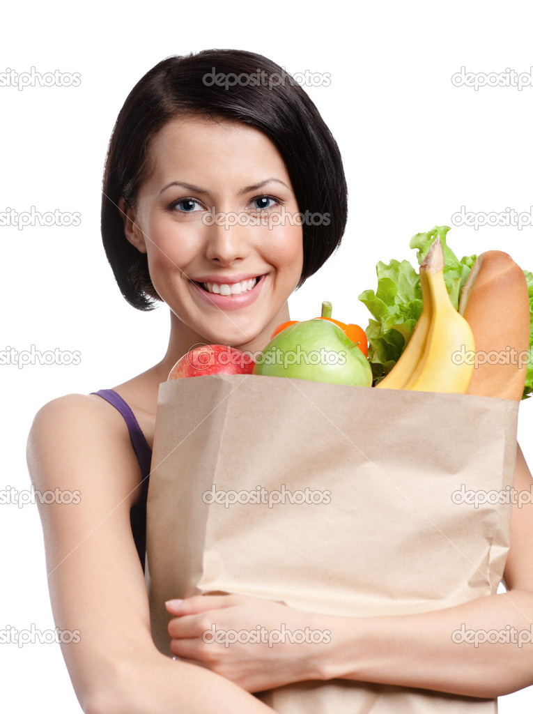 Attractive girl with the packet of fruit and vegetables, Isolated, white background. Health improving — Stock Photo #12130278
