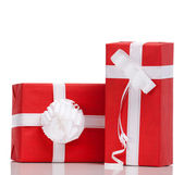 Two red boxes with presents — Stock Photo