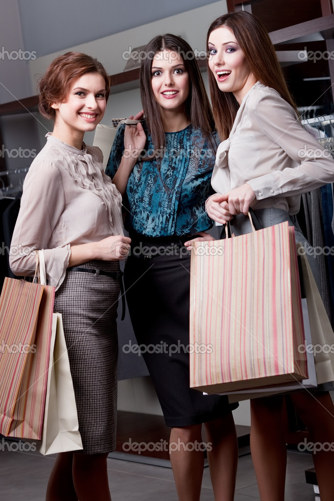 Delight after shopping, full length — Stock Photo #12160122
