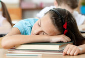 Sleeping at the desk, close up — Stock Photo