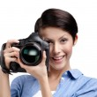 Creative girl-photographer takes pictures — Stock Photo
