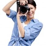 ������, ������: Creative lady photographer takes shots