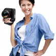 Competent woman-photographer takes snaps — Stock Photo